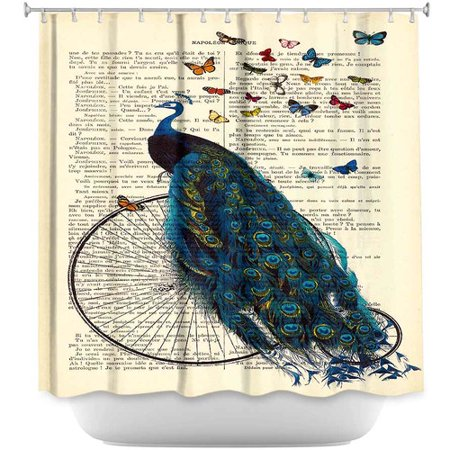 DiaNoche Designs Peacock Bicycle Butterflies Shower Curtain
