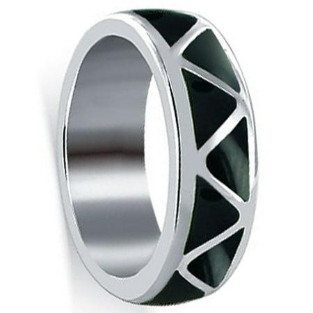 Gem Avenue Men's 925 Sterling Silver Onyx Southwestern Style (Onyx Gemstone Round Shape)