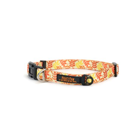 Festive Patterns - Mighty Paw Thanksgiving Dog Collar, Special Festive Printed Pattern, Durable Polyester Webbing (Large)