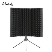 Muslady Professional Studio Recording Microphone Isolation Shield Filter Microphone Wind Screen with High Density EVA Foam and Stand Sound Absorbing Recording Equipment