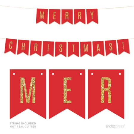 Merry Christmas! Gold Glitter Holiday Hanging Pennant Party Banner (Merry Christmas Glitter Banner)
