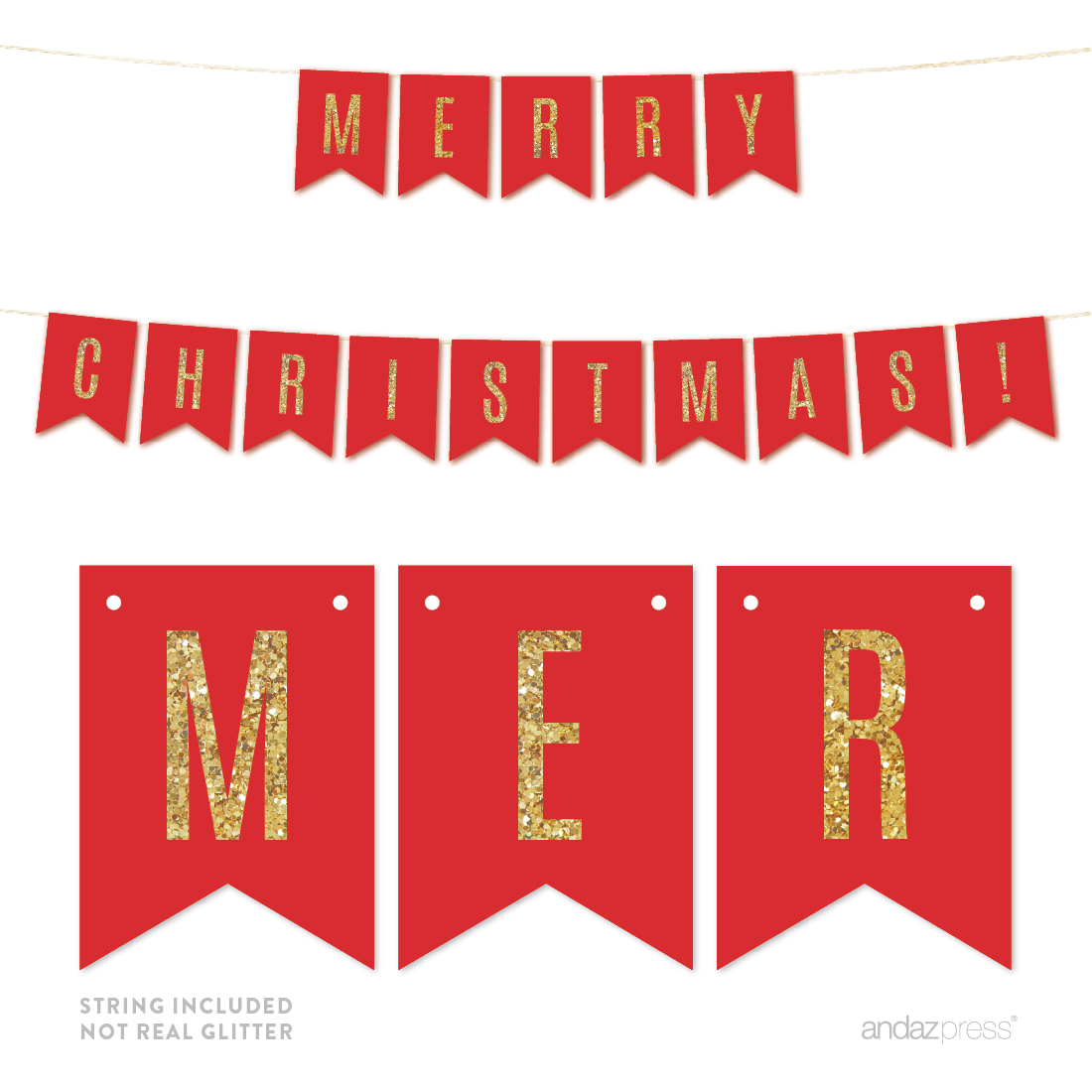 Merry Christmas! Gold Glitter Holiday Hanging Pennant Party Banner