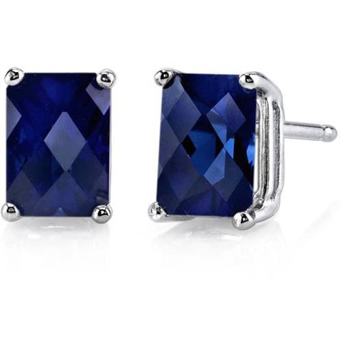 2.50 Carat T.G.W. Radiant-Cut Created Blue Sapphire 14kt White Gold Stud Earrings