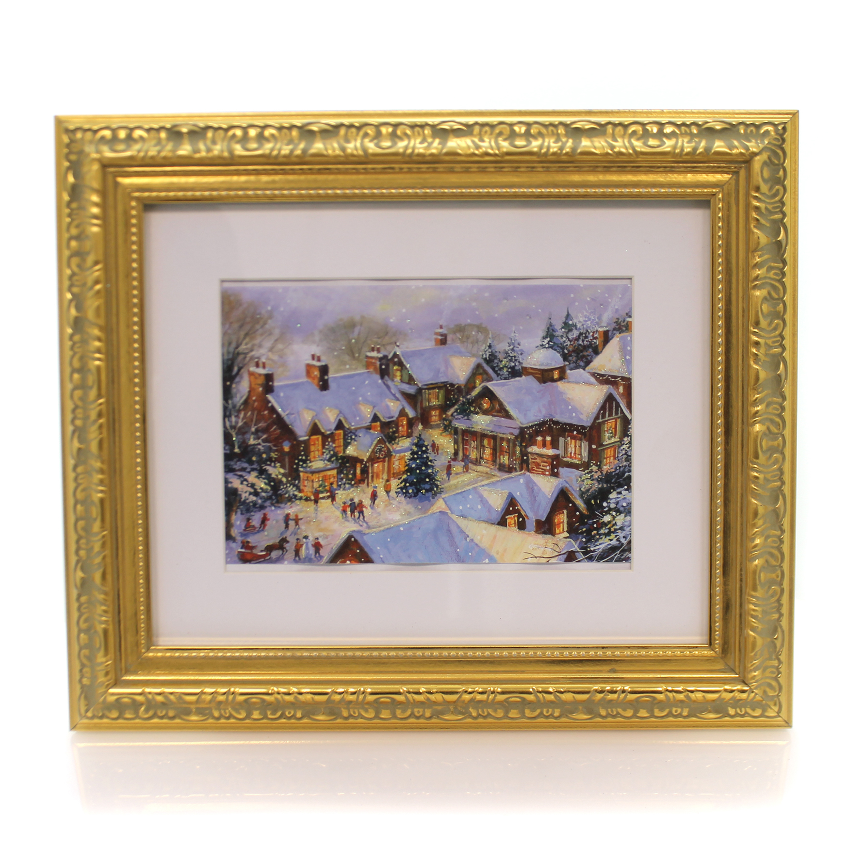 Christmas VILLAGE FRAMED PICTURE Wood Greeting Card Artwo...