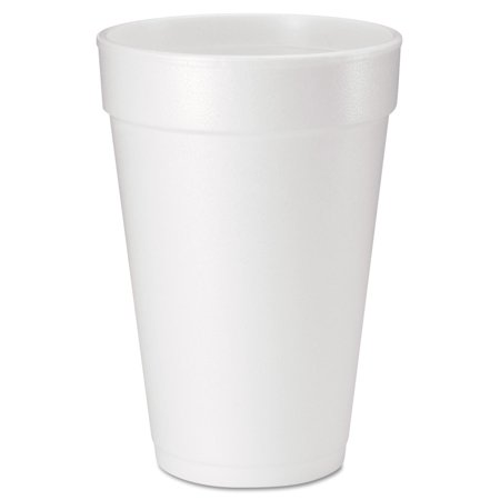 Dart Drink Foam Cups, 16 oz, White, 20/Bag, 25 Bags/Carton Dart Dart Foam Cup