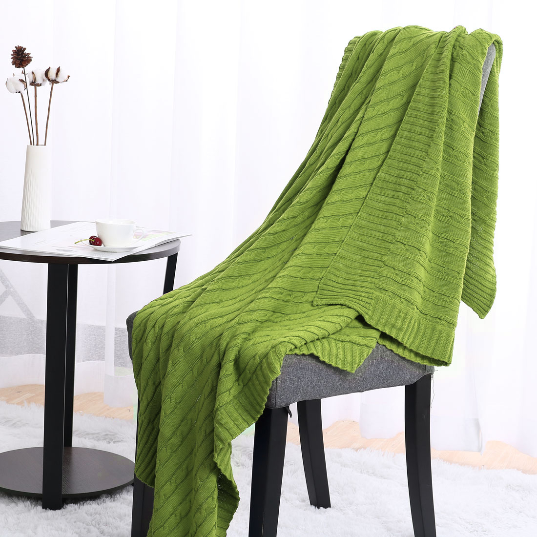 100% Cotton Cable Knit Bedding Full Size Bed Throw Blankets