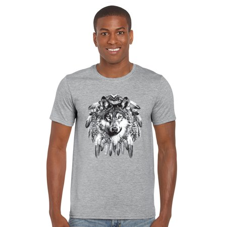 Men's T Shirt Indian Wolf Short Sleeve Tee](Grey Wolf Tail)