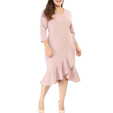 Women's Plus Size Wrap Cocktail V-Neck Ruffled Midi