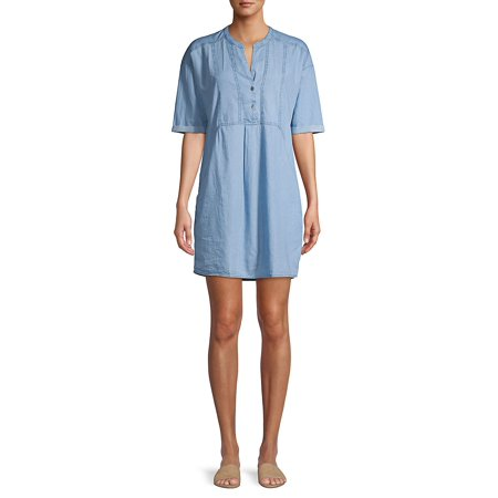 Button Front Tencel Shift Dress