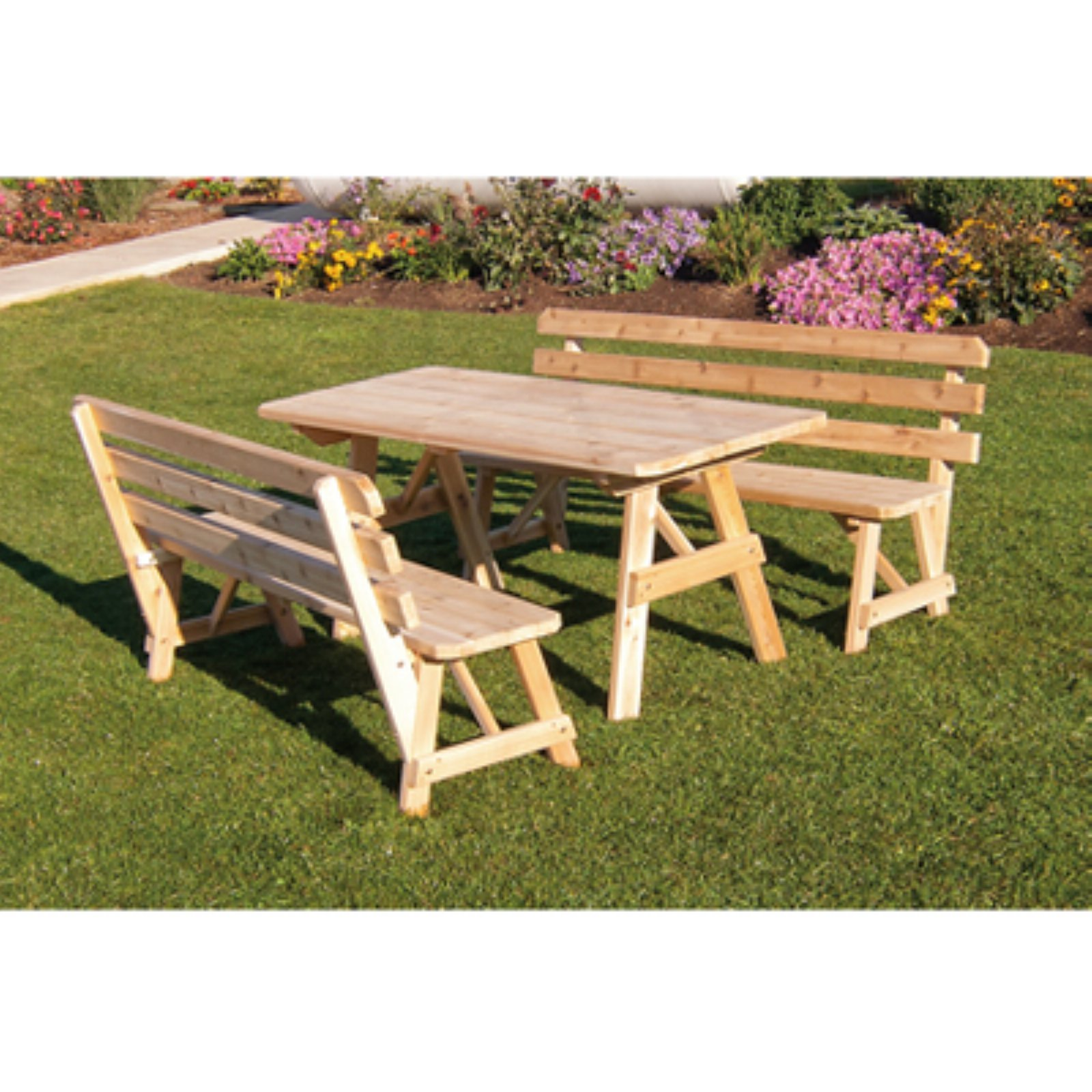 A & L Furniture Western Red Cedar Picnic Table with 2 Backed Benches