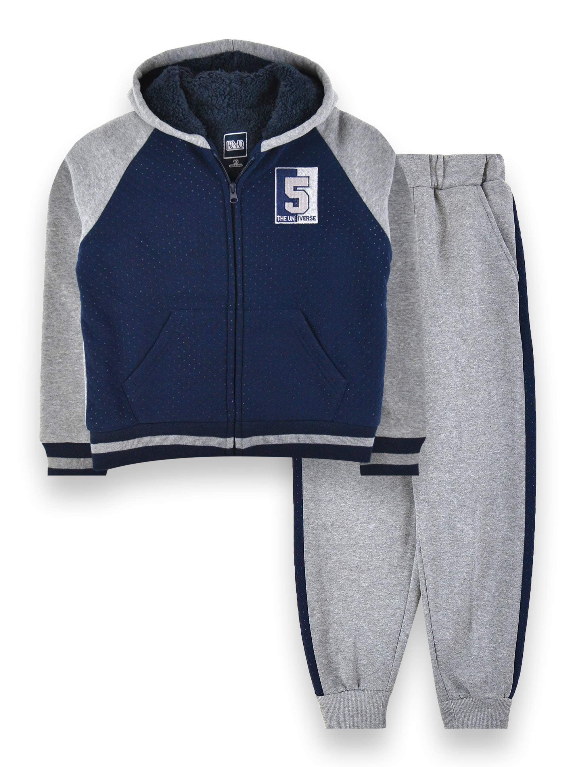 RND RND Boys 4 16 Sherpa Lined Zip Up Sweatshirt & Jogger Sweatpants, 2 Piece Outfit Set