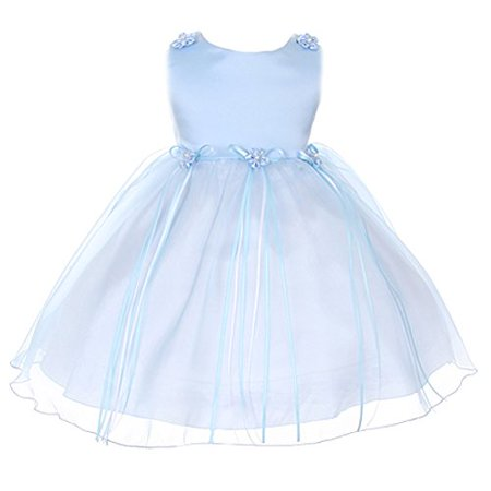 Baby Girl's Charming Satin & Organza Dress with Daisy Embellishments baby blue size (Satin Daisy Collection)