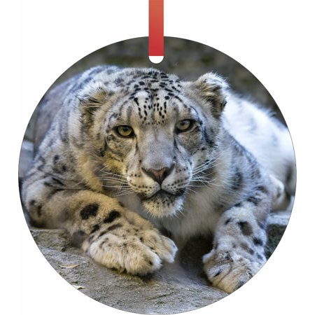 Snow Leopard Wildlife Animal Round Shaped Flat Semigloss Aluminum Christmas Ornament Tree Decoration (Life Size Christmas Decorations)