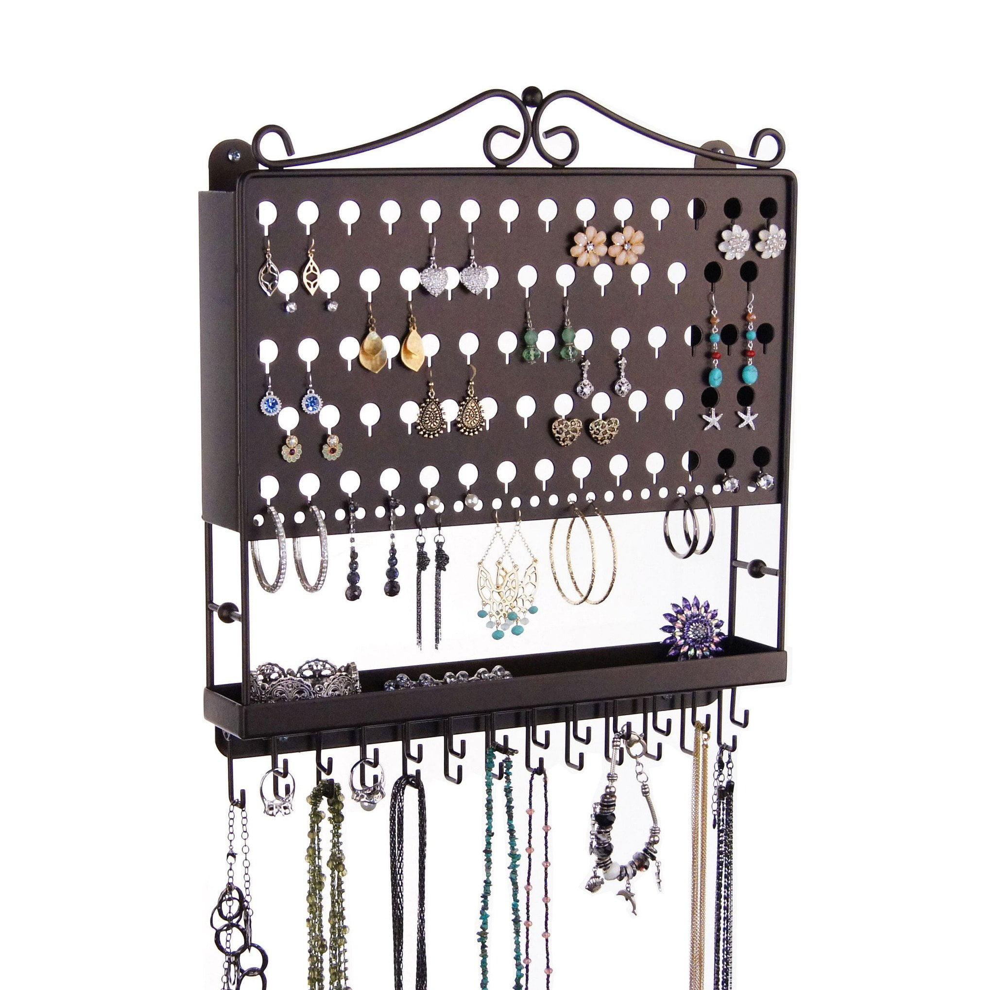 Angelynn S Stud Dangle Earring Holder Wall Mount Hanging Necklace Rack Jewelry Organizer Display Closet Jewelry Storage Tray Rubbed Bronze Walmart Com Walmart Com