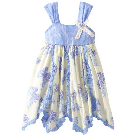 Rare Editions - Periwinkle/ Cream Butterfly Print Dress 4-6X Final sale! 5
