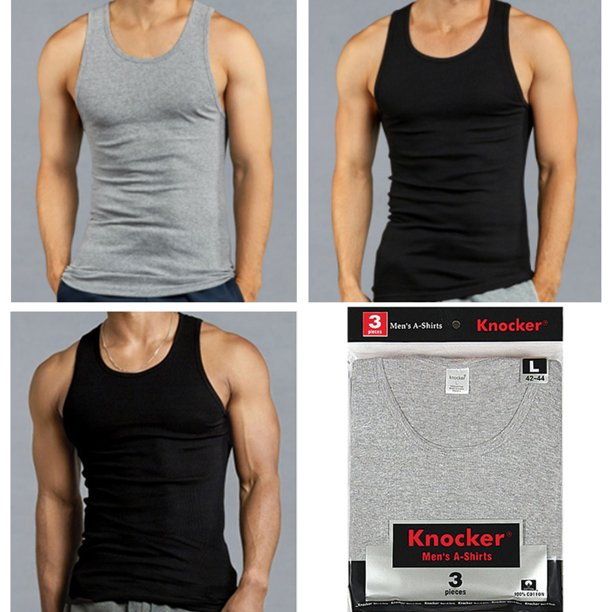 Knocker - 3 X Mens Tank Tops 100% Cotton A-Shirt Ribbed Pack Undershirt  Black Gray Large - Walmart.com - Walmart.com
