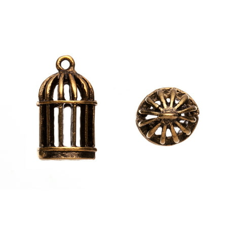 Drops/Charms, Bird Cage Antique-Gold Finished 12x20mm 4pcs/pack (3-pack Value Bundle), SAVE $2 (Gold Birdcage)