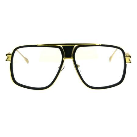 Mens Nerdy Double Rim Mobster Rectangular Racer Aviator Eye Glasses Gold (Nerdy Black Glasses)