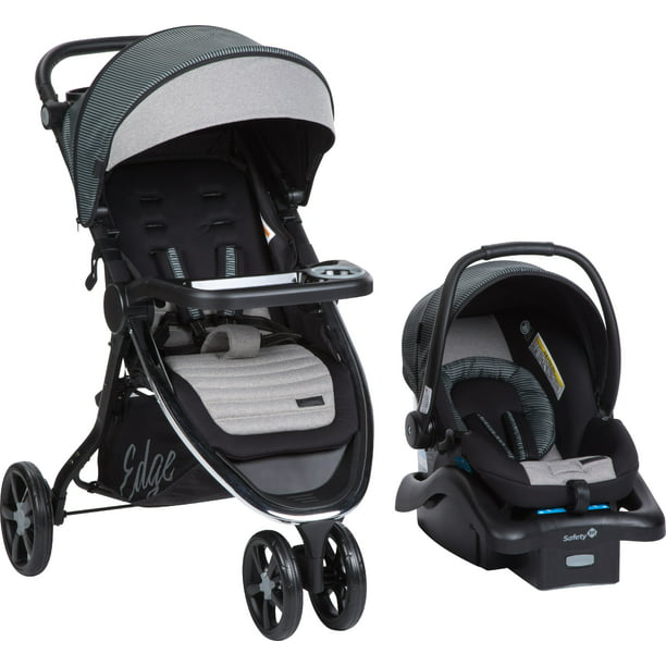 Monbebe Edge Travel System, Gray and Black Pinstripe