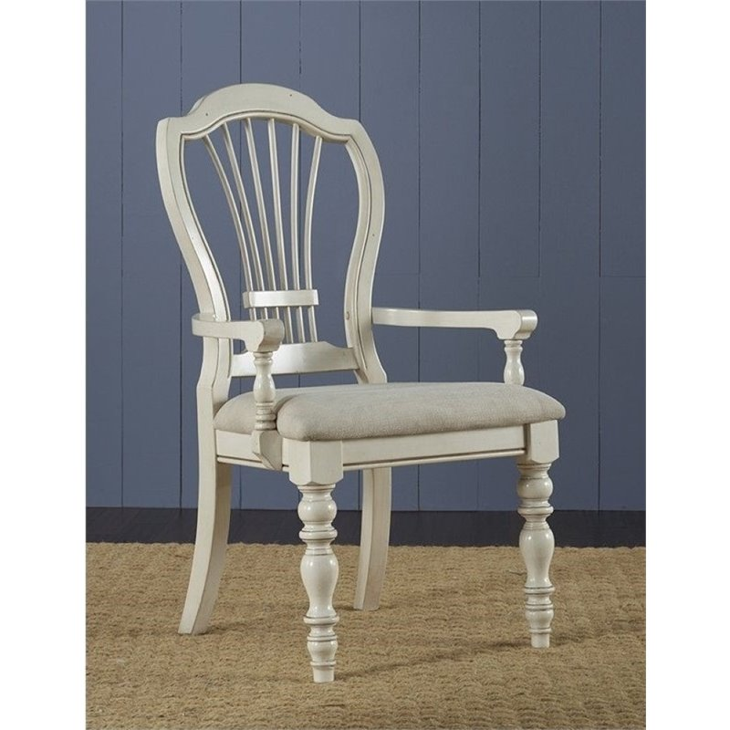 Bowery Hill Wheat Back Dining Armchair in Old White (Set of 2) by Bowery Hill