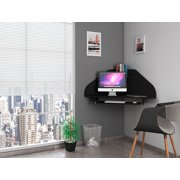 Manhattan Comfort Bradley Floating Corner Desk with Keyboard Shelf in Black