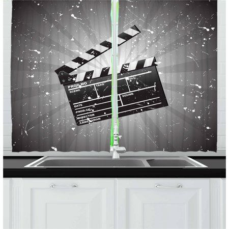 Movie Theater Curtains 2 Panels Set, Clapper Board on Retro Backdrop with Grunge Effect Director Cut Scene, Window Drapes for Living Room Bedroom, 55W X 39L Inches, Grey Black White, by Ambesonne - Halloween Town Movie Theater Scene