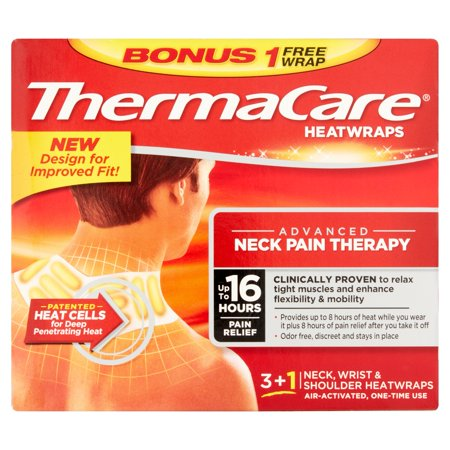 ThermaCare Advanced Neck Pain Therapy (3 Count + 1 Bonus) Heatwraps, Up to 16 Hours Pain Relief, Neck, Wrist, Shoulder Use, Temporary Relief of Muscular, Joint Pains