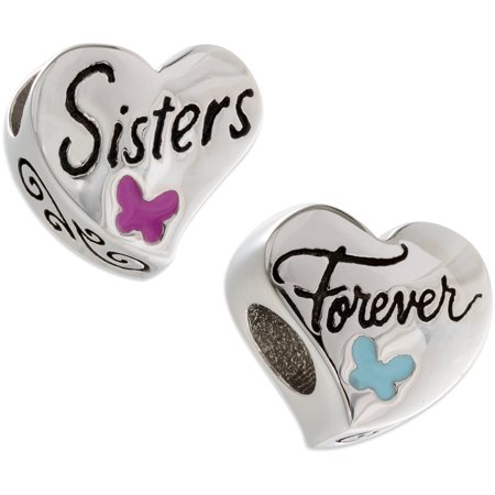 Connections From Hallmark Stainless Steel   Sisters Forever   Charm