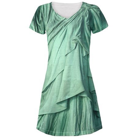 Statue of Liberty Lady Costume Juniors V-Neck Beach Cover-Up Dress (Statue Of Liberty Dress)