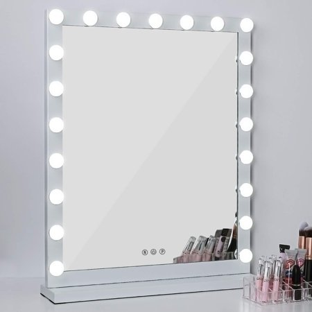 "Lighted Makeup Vanity Mirror, 3 Color Modes Tabletops Lighted Mirror LED Illuminated Cosmetic Mirror with 21 LED Dimmable Bulbs (25"" x 20"")"