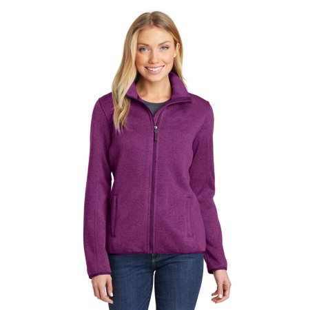 Port Authority® Ladies Sweater Fleece Jacket. L232 Pink Heather S - image 1 of 1