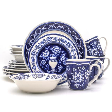 16pc Stoneware Blue Garden Dinnerware Set Blue/White - Euro Ceramica