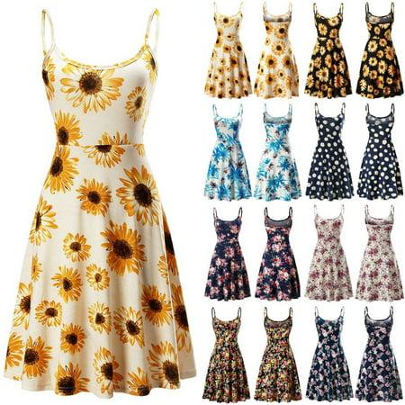 - Hot Fashion Women Summer Holiday Dress Sling Floral Beach Long Dress Sexy Bodycon Dress