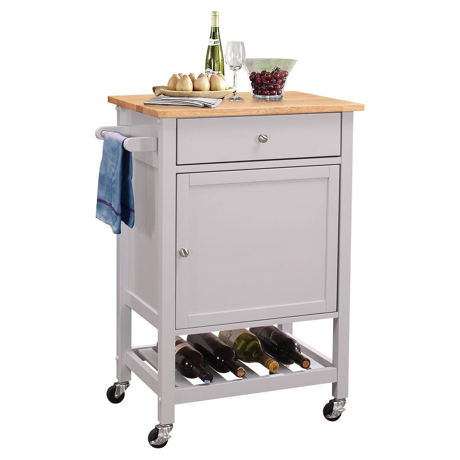ACME Hoogzen Kitchen Cart, Natural & Gray