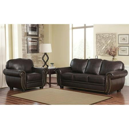 Abbyson Tamra Premium Italian Leather Sofa And Armchair