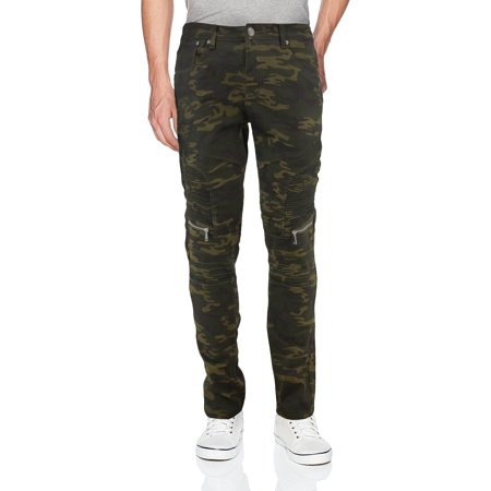 Men's Skinny Fit Distressed Quilted Stretch Fashion Moto Zipper Jeans (Olive Camo, 34x30) (Urban Camo Jeans)
