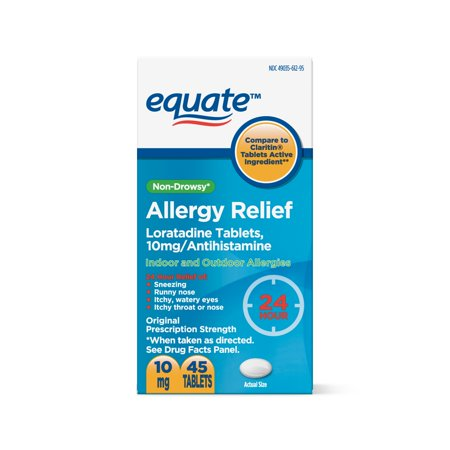 Equate 24 Hour Non-Drowsy Allergy Relief Loratadine Tablets, 10 mg, 45 Count