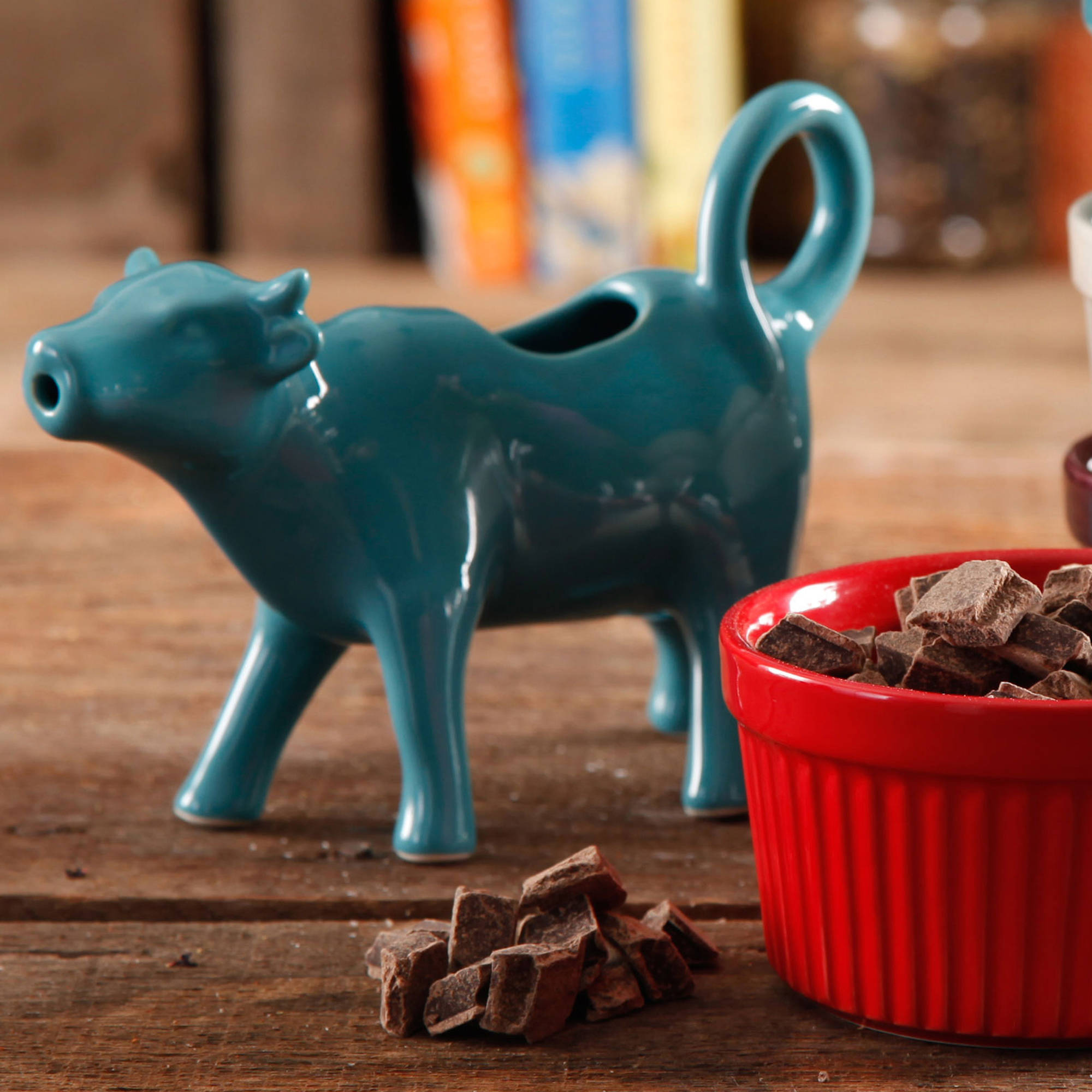 The Pioneer Woman Flea Market Teal Cow Shape Creamer - Walmart.com