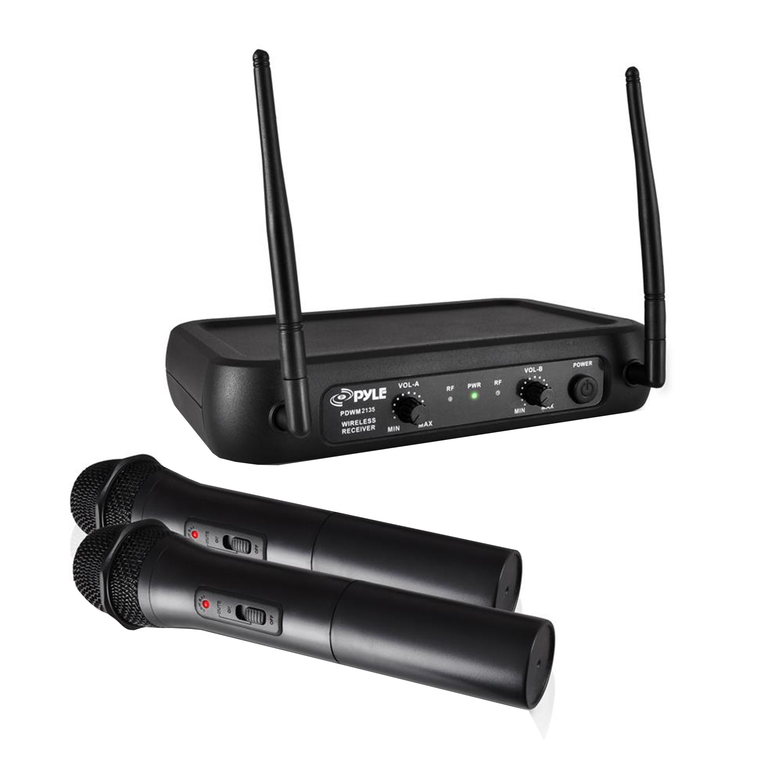 VHF Fixed Frequency Cordless Microphone System, Adjustable Volume Controls, Includes (2) Handheld Mics