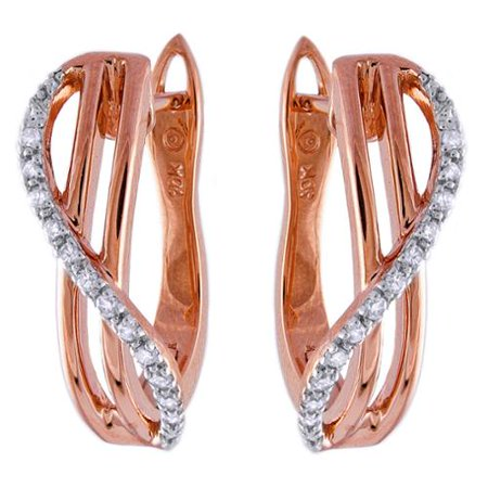 b33e7f476563e BHC 10k Rose Gold 1/10ct TDW Diamond Crossover Leverback Earrings ...
