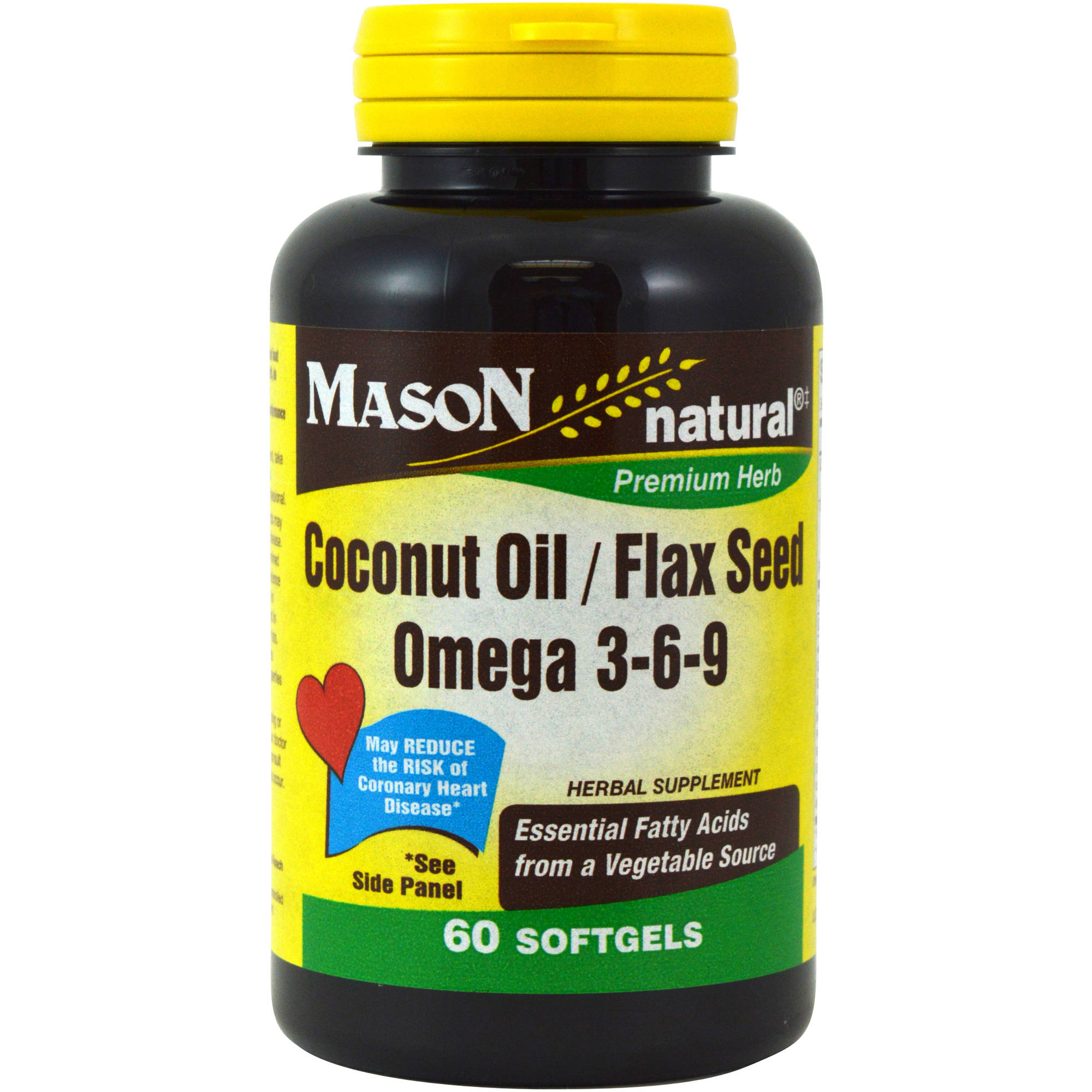 Mason natural Coconut Oil/Flax See/Omega 3-6-9 Herbal Supplement, 60 count