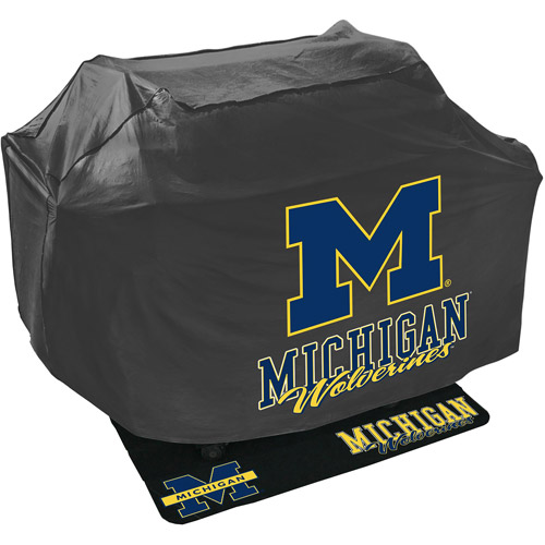 Mr. Bar-B-Q NCAA Grill Cover and Grill Mat Set, University of Michigan Wolverines