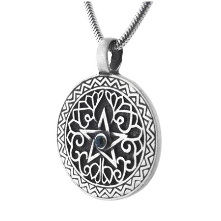 Green Earth Element Pentacle Pendant Necklace with 20