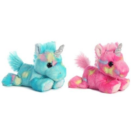 aurora bundle of 2 stuffed beanbag animals - blueberry ripple unicorn & jelly roll unicorn, blue/pink, multicolor (Blue Flame Stuff)