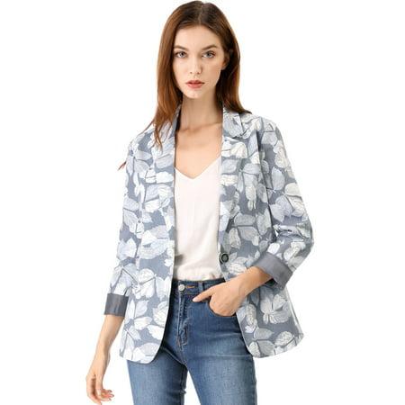 Women's Boyfriend Printed Blazer Jacket Grey (Size S / - Boyfriend Blazer Outfits