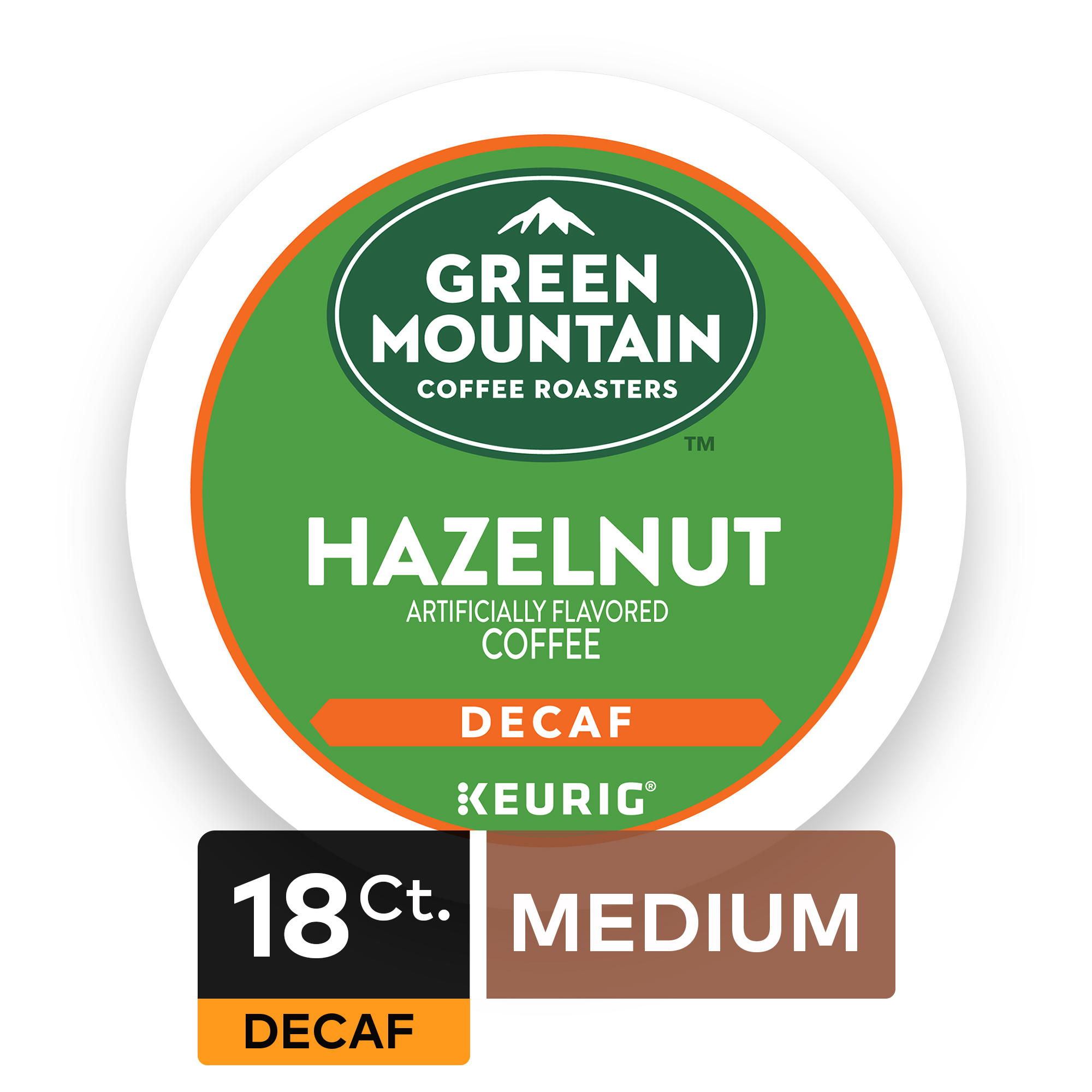 Green Mountain Coffee Roasters Hazelnut Decaf Keurig Single-Serve K-Cup pods, Light Roast Coffee, 18 Count
