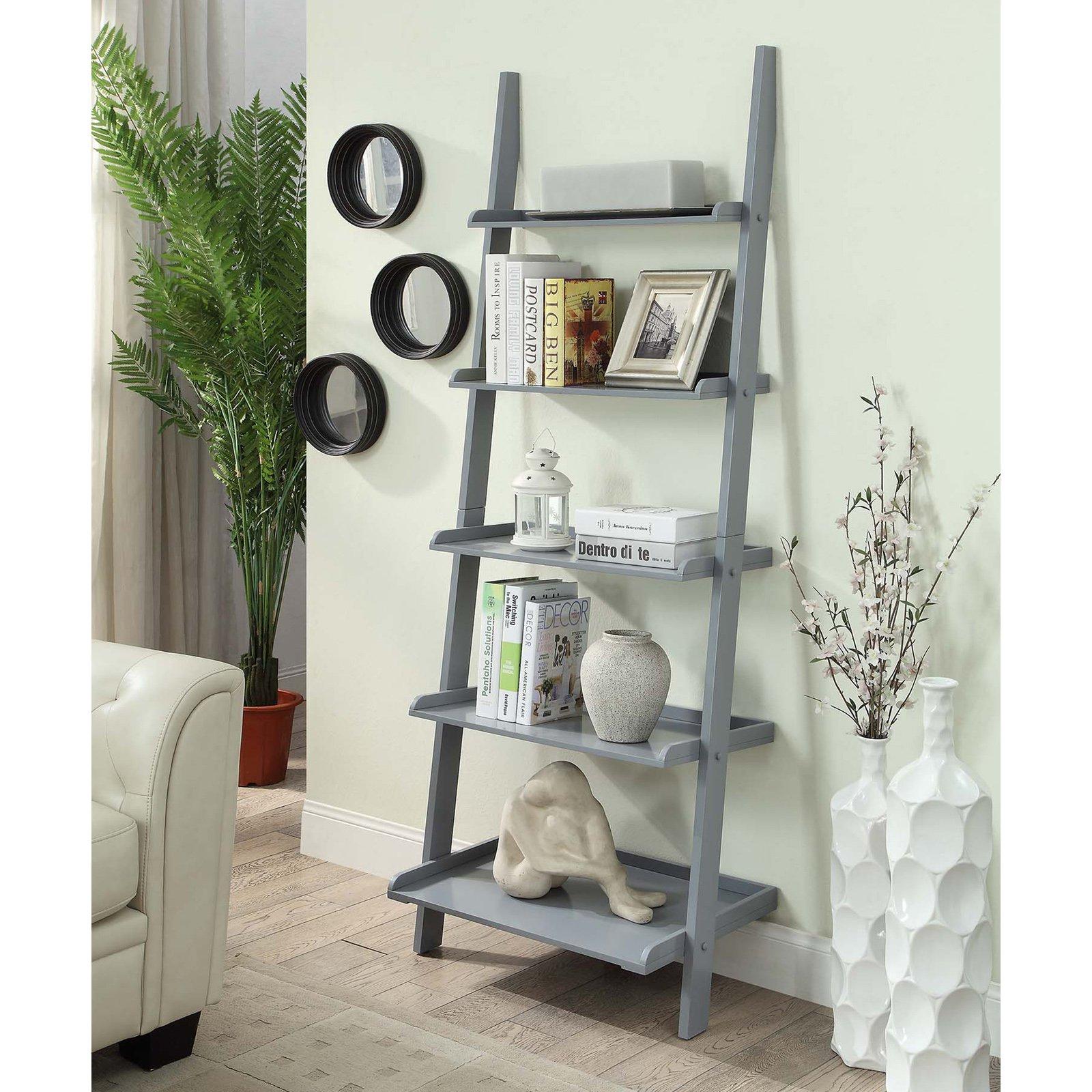 Convenience Concepts American Heritage 5-Shelf Bookshelf Ladder, Multiple Finishes