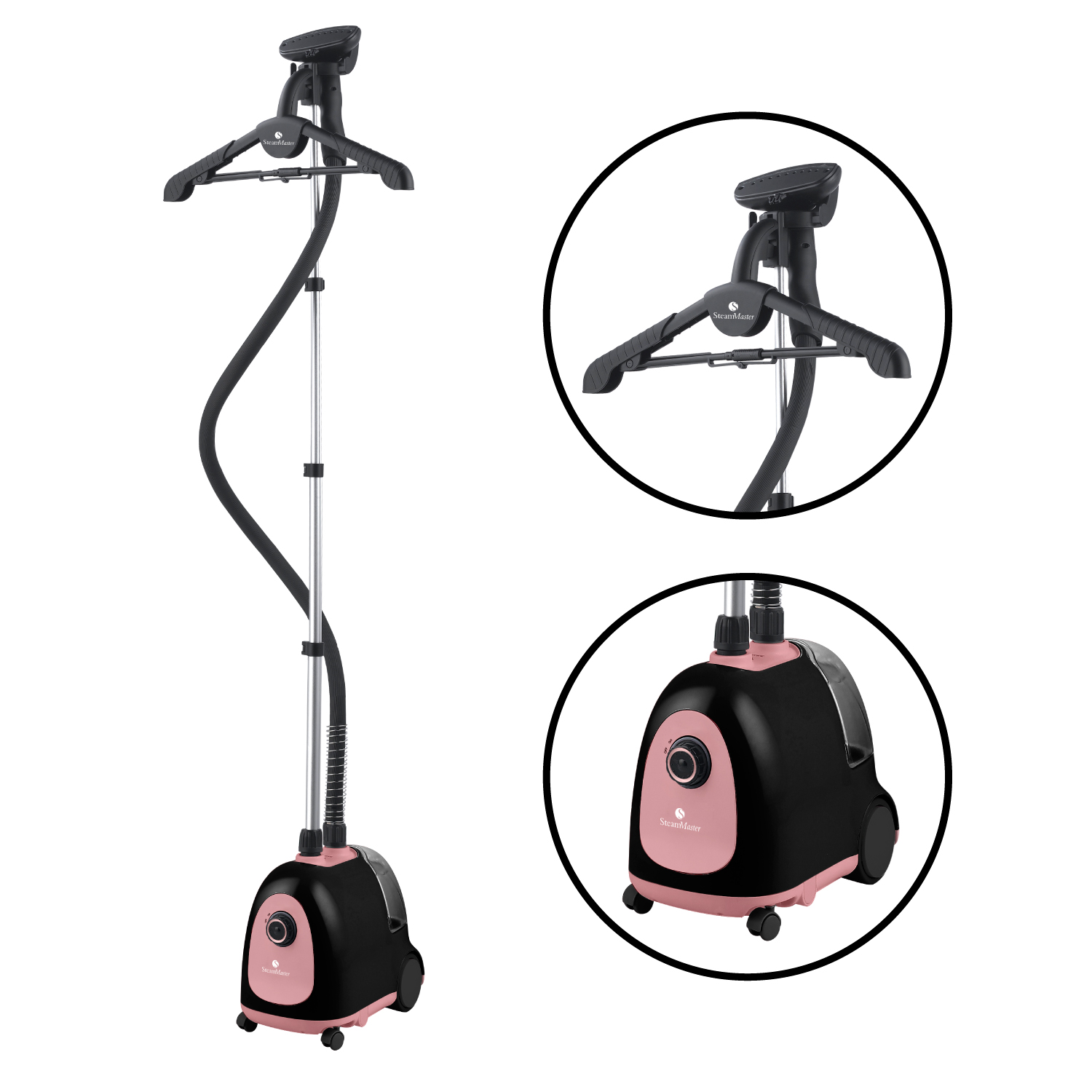 Steam and Go Professional Garment Steamer with Garment Hanger and Fabric Brush Pink Black by