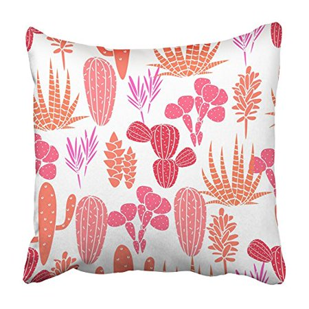 CMFUN Succulents Cacti Plant Botanical Pink and Rose Desert Flora Garden Cartoon Pillowcase Cushion Cover 20x20 inch (Botanical Gardens Brooklyn Halloween)