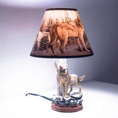 Kids Table Lamps for Bedrooms, Nursery Animals Thematic Hand Painted, Decor Night Light Gift (Wolf) ()